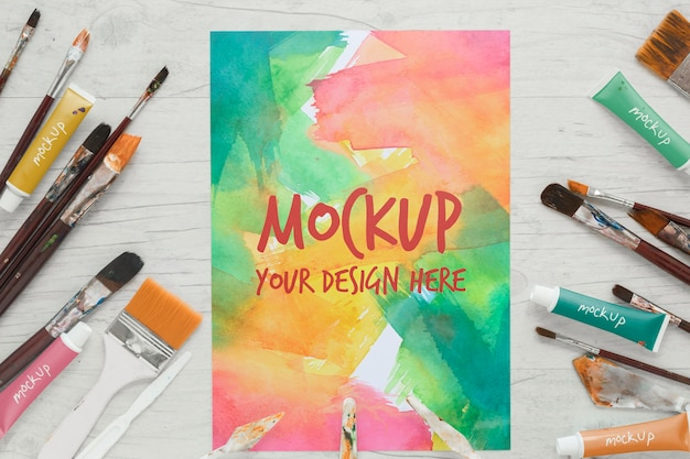 Painting brushes and watercolors mock-up Free Psd