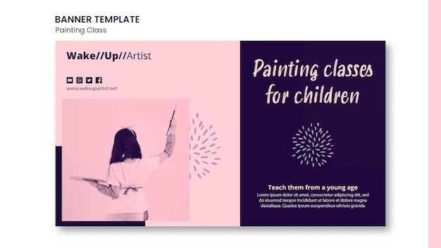 Painting class banner template Free Psd