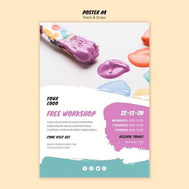 Progettazione di poster di classe di pittura Psd Gratuite