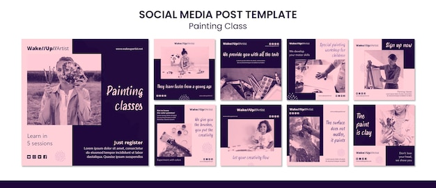 Painting class social media post template Premium Psd