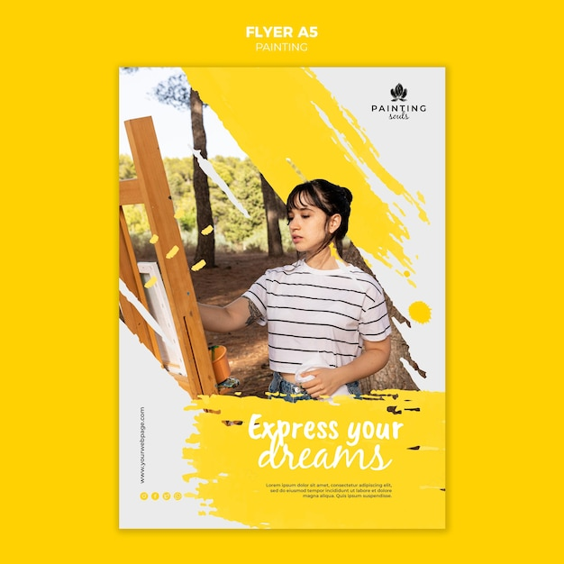Painting flyer template with photo Free Psd