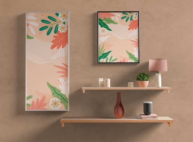 Painting frames mock-up on wall Free Psd