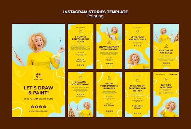 Painting instagram stories template Free Psd