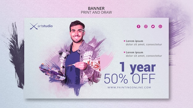 Modello di banner di pittura classi online Psd Gratuite
