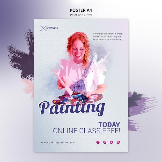 Modello di volantino lezioni di pittura online Psd Gratuite