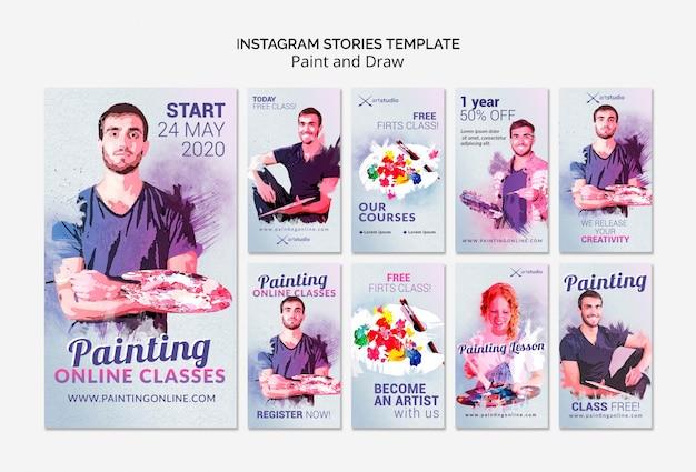 Corsi di pittura online su storie di instagram Psd Gratuite