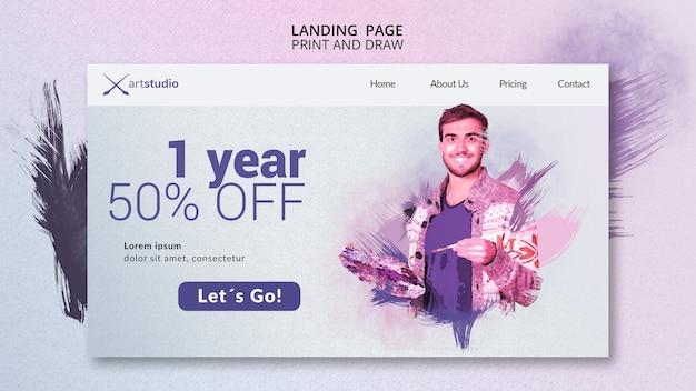 Pagina di destinazione delle lezioni di pittura online Psd Gratuite