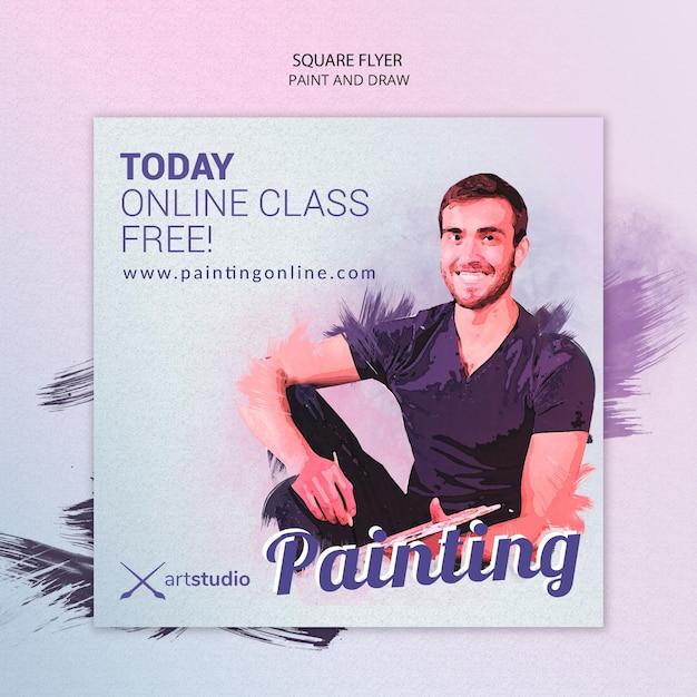 Modello di volantino quadrato di pittura classi online Psd Gratuite