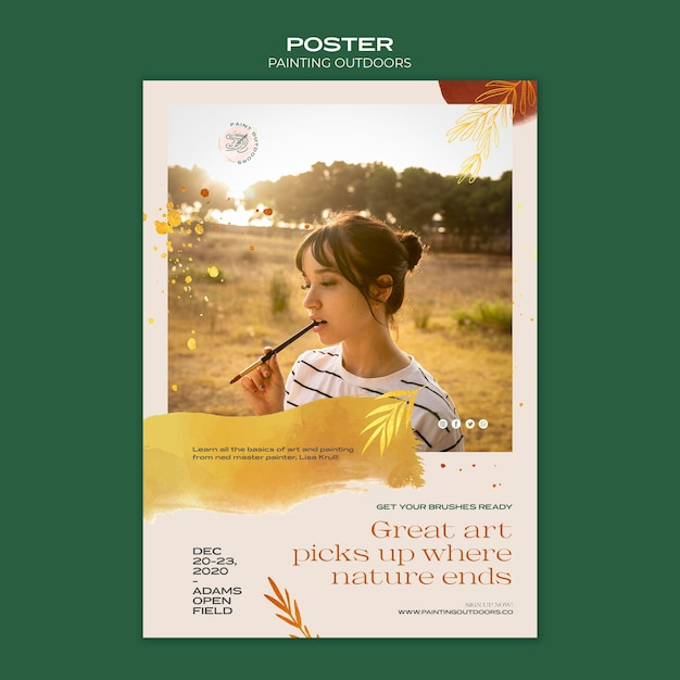 Painting outside ad template poster Free Psd