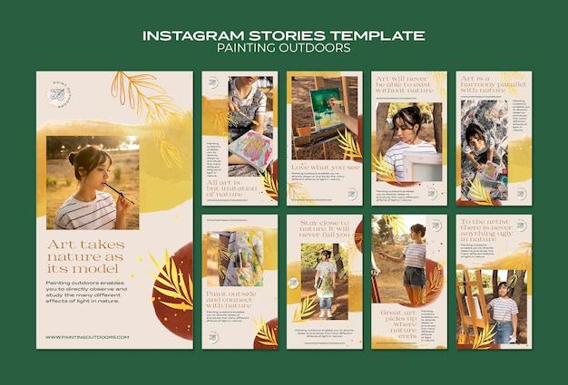 Instagramストーリーテンプレートの外側のペイント Premium Psd