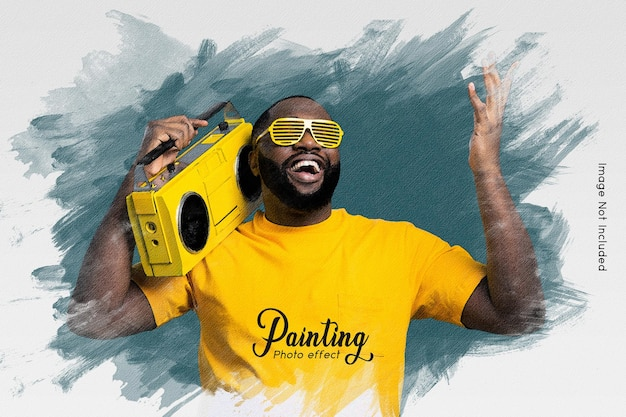 Painting photo effect template Premium Psd