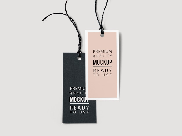 Pair of fashion label tag mockups Free Psd