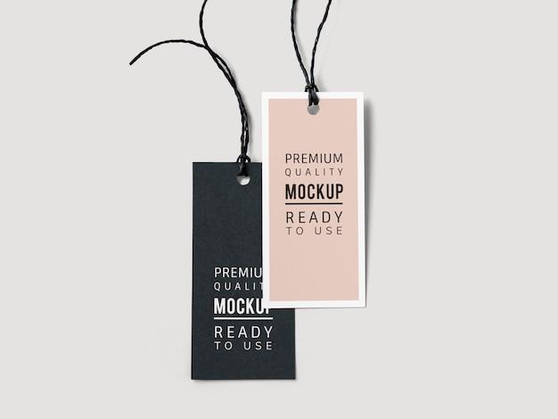 패션 라벨 태그 모형의 쌍 무료 PSD 파일