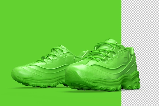 Pair of sport sneakers shoes on green Premium Psd