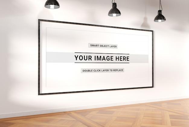 Panoramic frame in interior mockup Premium Psd