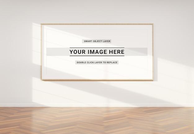 Panoramic photo frame in interior mockup Premium Psd