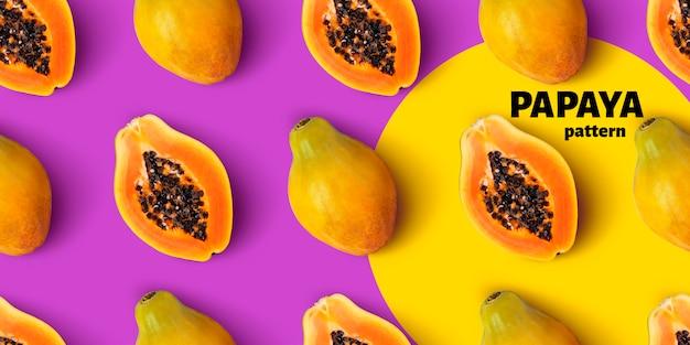 Бесшовный узор из папайи Premium Psd