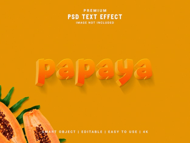 Папайя psd текстовый эффект, 3d реалистичный шаблон, стиль текста. Premium Psd