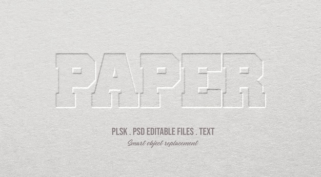 Paper 3d text style effect mockup Premium Psd