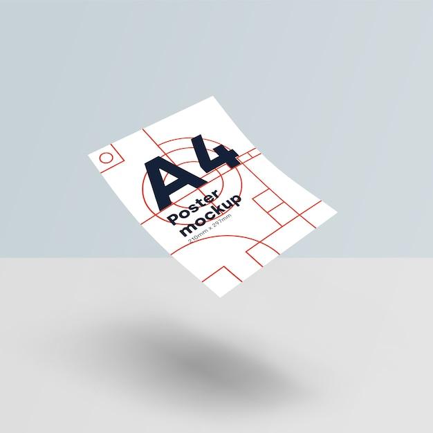 紙a4モックアップpsd重力 無料 Psd