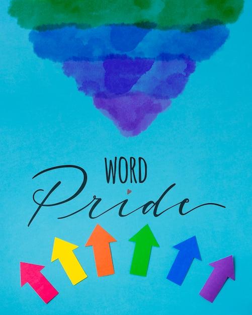Paper arrows gay pride mockup Free Psd