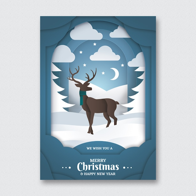Paper Art Christmas Flyer Template Psd File Free Download
