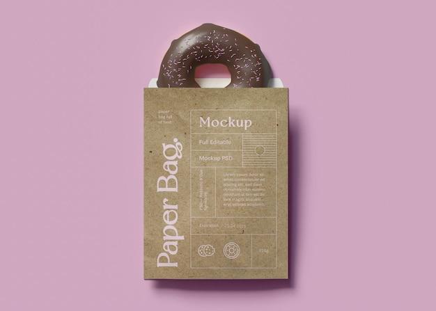 Paper bag and donut mockup
