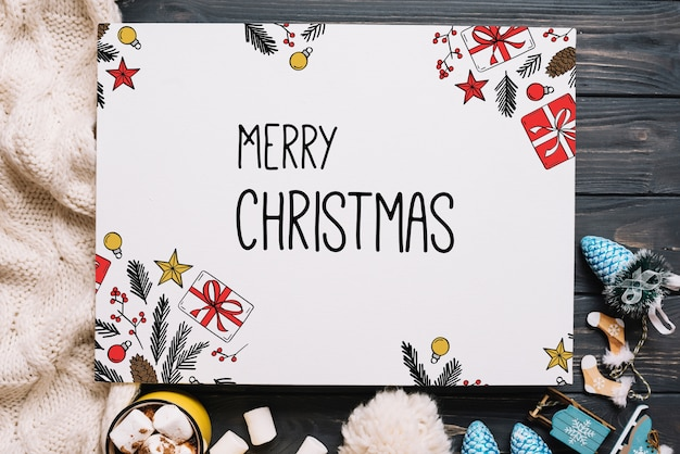Paper card mockup with christmas elements Free Psd