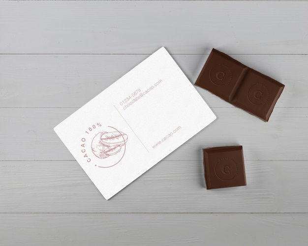 Paper chocolate details card mock-up Free Psd