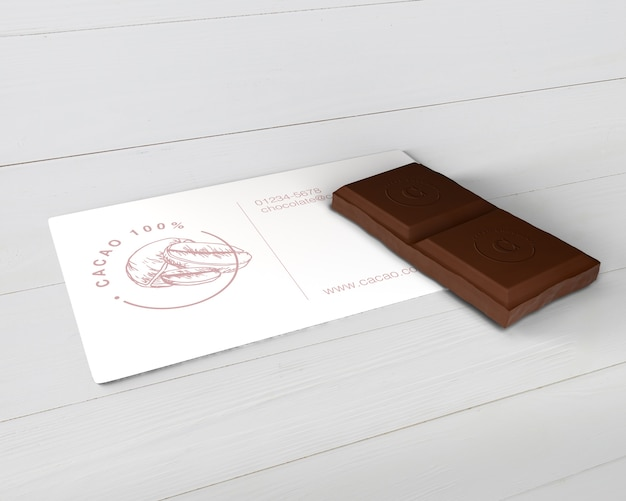Paper chocolate info card mock-up Free Psd