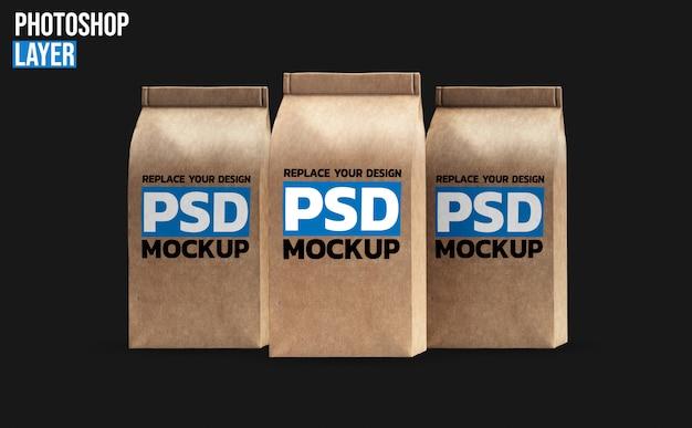 Бумажные кофейные пакеты макет Premium Psd