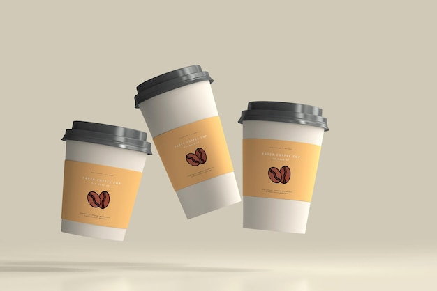Paper coffee cup mockup scene Free Psd