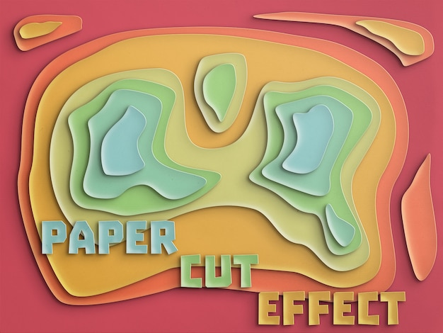 Paper cut effect fully customizable Free Psd
