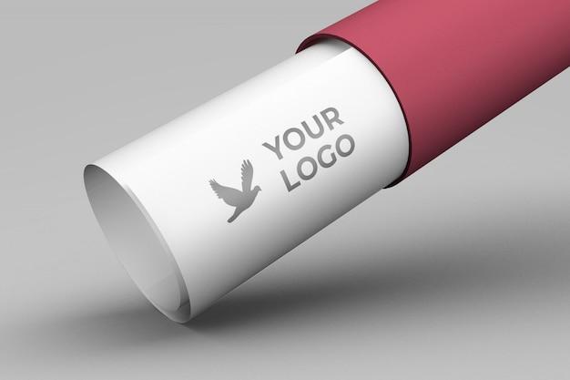 Paper fold logo mockup design Premium Psd