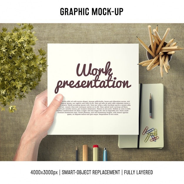 Paper in a desk mock up template Free Psd