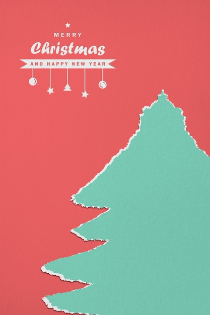 Paper merry christmas and happy new year mockup Premium Psd