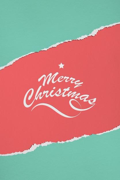 紙のメリークリスマスのモックアップ Premium Psd