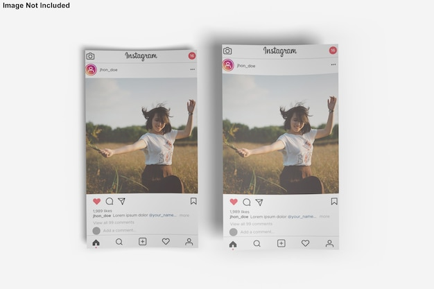 Instagram Post 용 종이 모형 프리미엄 PSD 파일