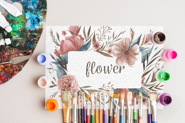 Paper mockup with artist concept Free Psd