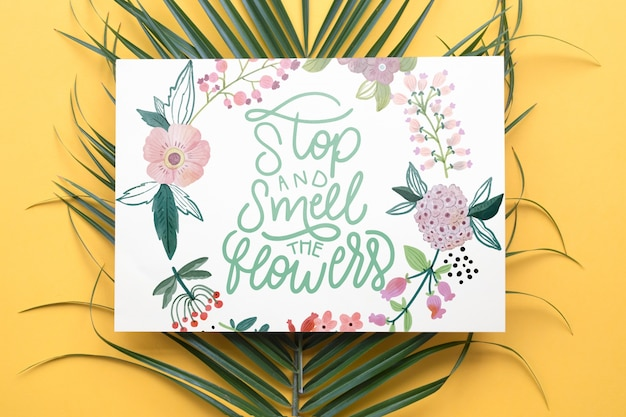 Paper mockup with floral decoration Free Psd