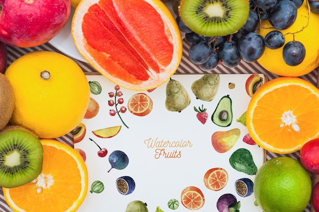 Paper mockup with fruits Free Psd