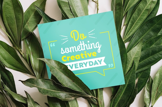 Paper Mockup With Nature Concept For Quotes Psd File Free Download