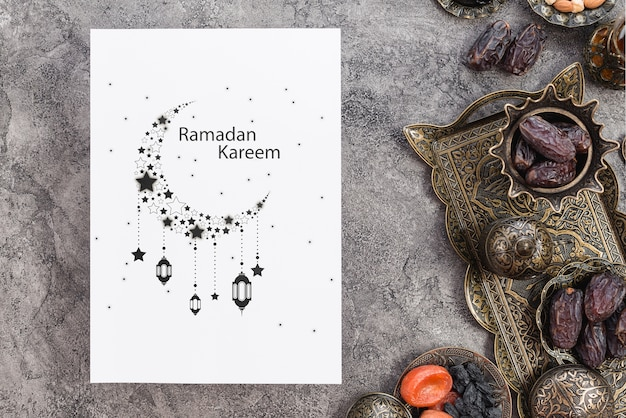 Paper mockup with ramadan concept Free Psd