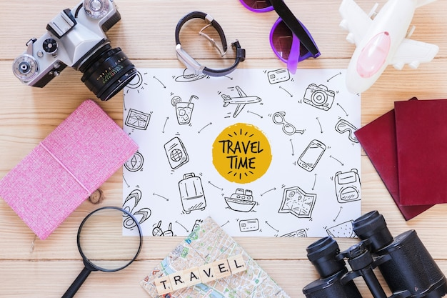 Paper mockup with travel concept Free Psd