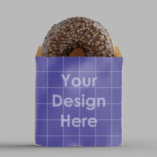 Бумажный пакет с изолированным макетом шоколадного пончика Premium Psd