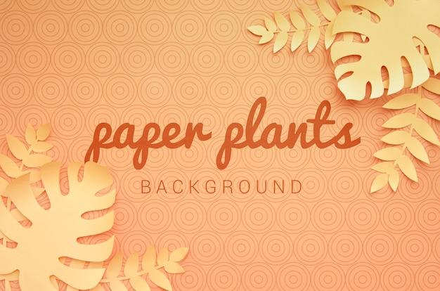 Бумажные растения монохромный оранжевый фон Бесплатные Psd