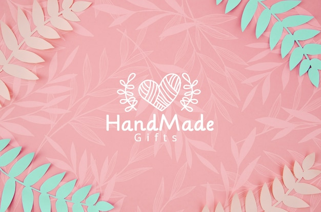 Paper plants pink and blue handmade background Free Psd