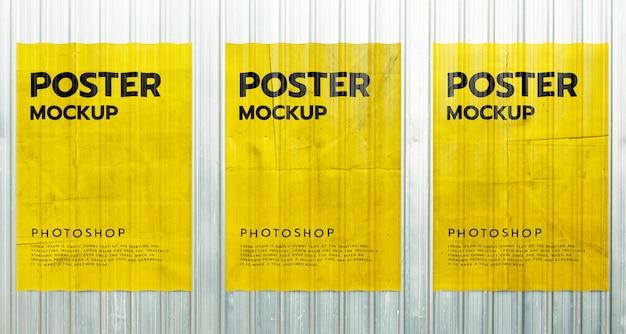 금속 시트 벽에 종이 포스터 그런 지 이랑 프리미엄 PSD 파일