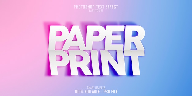종이 인쇄 3d 텍스트 스타일 효과 템플릿 프리미엄 PSD 파일
