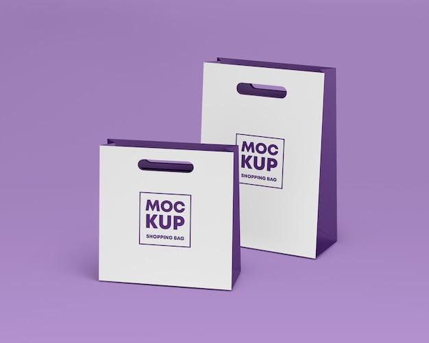 Paper shopping bags mockup Premium Psd